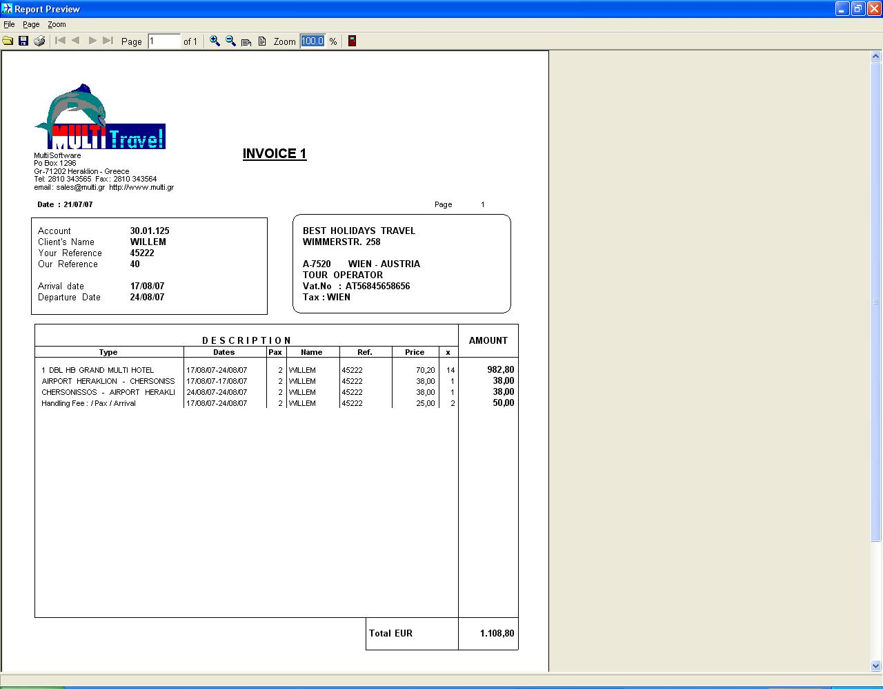 Travel Invoice Template